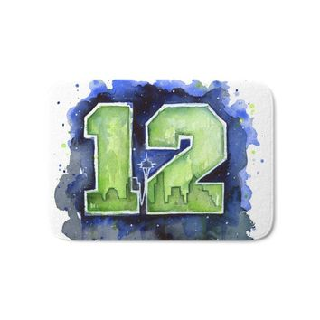 12th Man Seahawks Seattle Go Hawks Art Bath Mat Water Absorption Carpets Living Room Dust Proof Mats Home Decor