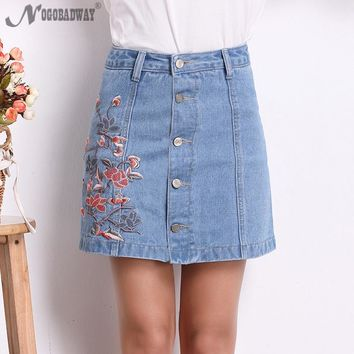 Plus Size High Waist Denim Skirts Womens 2017 Summer Embroidered Short Jeans Skirt Hot Ladies Casual Mini Skirt buttons autumn