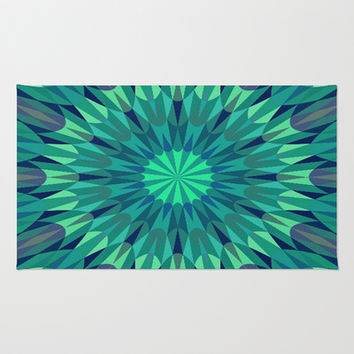 Teal Retro Geometry #2 Area & Throw Rug by 2sweet4words Designs