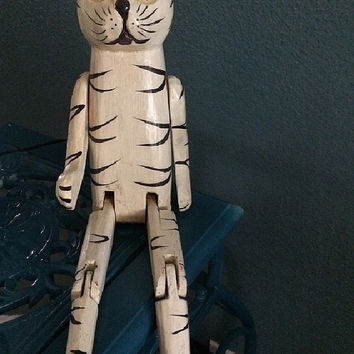 Vintage Wooden Cat Shelf Sitter, Jointed Together, Black & White Kitty Decor, Carved Wood