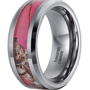 CERTIFIED 8mm Tungsten Camo Hunting Camouflage Pink Tree Wedding Band