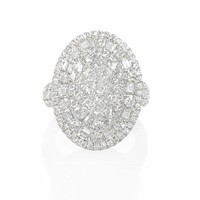 3.12ct Diamond 18k White Gold Oval Cluster Ring