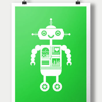 Instant Download Robot Nursery Wall Art / 8x10 inch / baby boy / boy's room decor / kids art / digital download