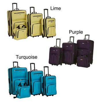 Bold Colors 4 Piece Carry-On Travel Wheeled Rolling Expandable Suitcase Luggage Set Baggage Set