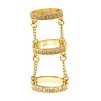 Rhinestone Chain Cage Ring by Charlotte Russe - Gold