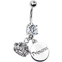 Cubic Zirconia Crown Princess Belly Ring | Body Candy Body Jewelry