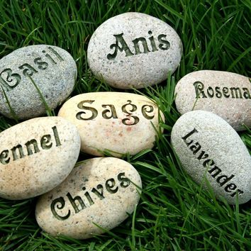 Natural Garden Markers - Plant marker, herb marker or custom word - Set of 3 Custom Engraved Rocks