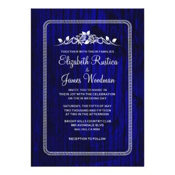 Royal Blue Vintage Barn Wood Wedding Invitations