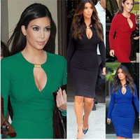 Keyhole Cutout Long Sleeves Midi Pencil Dress