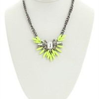 Short Necklace with Neon Spiked Stone Design