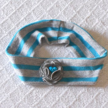 Grey and teal Baby Headband Girl, Infant Headband, Toddler Headband, Tshirt Headband, Jersey Headband Baby, Fabric Headband, Baby Photo Prop
