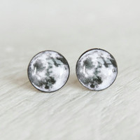 MOON - Earrings Studs - Full Moon Earrings - Post Earrings with Full Moon Design - Halloween Earrings by Ear Sugar