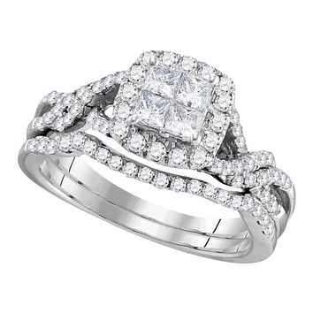 10kt White Gold Womens Princess Diamond Twist Bridal Wedding Engagement Ring Band Set 1.00 Cttw