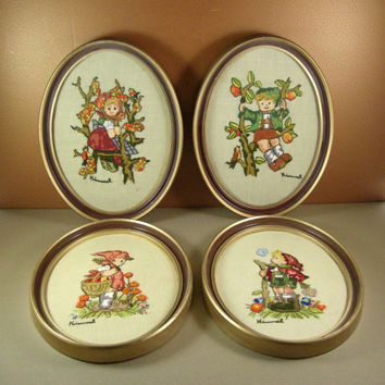 Set of 4 Oval Hummel Embroidery Pictures / Vintage Home Decor