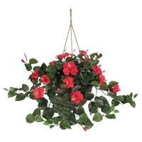 Hibiscus Silk Flower Hanging Basket