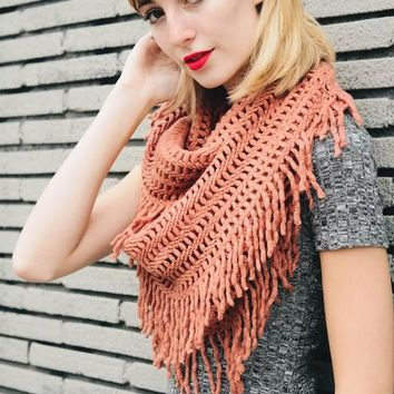 Warm Greetings Tassel Infinity Scarf, Desert Rose