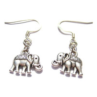 Silver Elephant Earrings Trunk Up For Good Luck  Elephant Jewelry