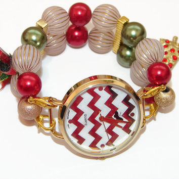 Beaded Christmas Watch with Chevron Face-Interchangeable Christmas Watch-Christmas Bracelet Watch-BeadsnTime-Teacher Gift-Unique Gift