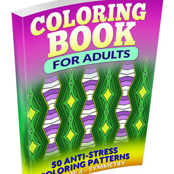 Coloring for Adults, Etsy Exclusive Half Price Limited Offer! 50 Unique 'Symmetry' Patterns, Adult Coloring Book, Instant Download, (PDF)