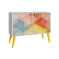 Avesta Double Side Table. 2.0 White/ Stamp/ Yellow