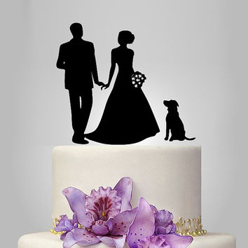 wedding Cake Topper with dog, bride and groom Silhouette wedding cake topper, custom dog wedding cake topper, funny cake topper