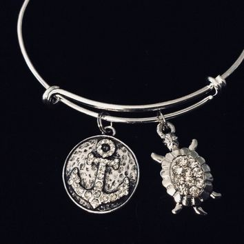 Crystal Anchor with Turtle Adjustable Bracelet Expandable Charm Bangle Ocean Nautical Vacation Jewelry One Size Fits All Gift Rhinestone
