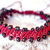 Bordeaux red macramé adjustable bracelet- black glass beads- artisan- hand crafted jewelry