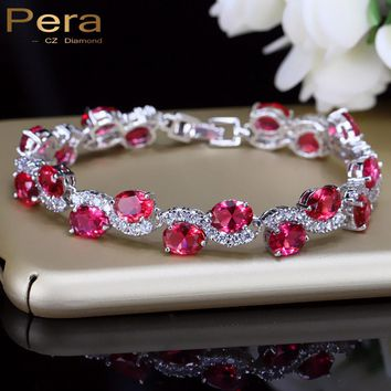 Pera Romantic Indian Red Women Party Jewelry Micro Pave Cubic Zirconia Oval Shape Stone 925 Sterling Silver Bracelet Femme B109