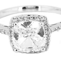 Sterling Silver 2.5 Cttw Cushion Cut Center Cubic Zirconia Engagement Ring