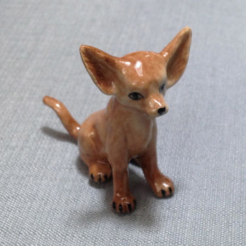 Miniature Ceramic Dog Chihuahua Sitting Animal Little Small Brown Orange Beige Figurine Statue Decoration Hand Painted Collectible Display