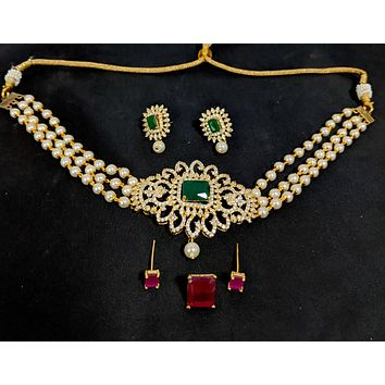 Pearl bead chain - One gram gold Choker necklace and Stud earring set - 2 changing colors
