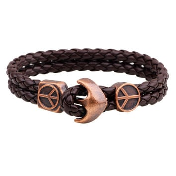 Peace Sign Anchor Serpentine Men Bracelet Jewelry Gift