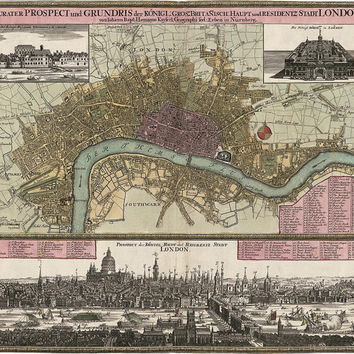 Antique Map of London, England (c1750) by J. Homann - Archival Reproduction