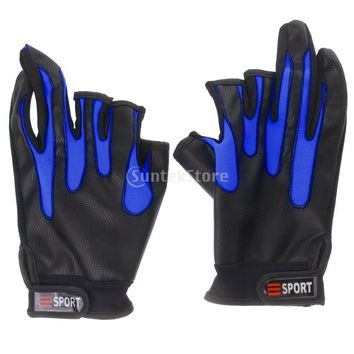 Outdoor Non Slip Fishing Gloves Riding Gloves Waterproof Breathable Blue