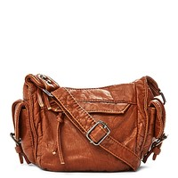 Washed Faux Leather Mini Crossbody
