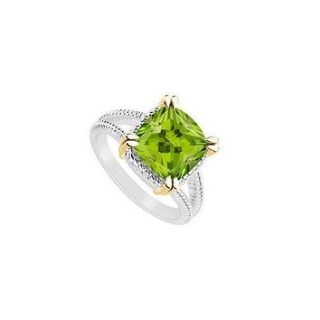 Peridot Ring : Two Tone (Sterling Silver & 14K Yellow Gold) - 6.00 CT TGW