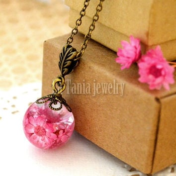 Flower Resin Necklace – Real Flower Necklace, Hot Pink Resin Ball, Dried Flower Jewelry Resin Flower Pendant, Handmade Resin Jewelry