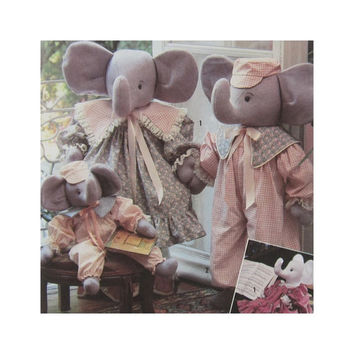 Uncut Craft Pattern Simplicity 7140 Stuffed Elephants in Two Sizes with Clothes Faith Van Zanten