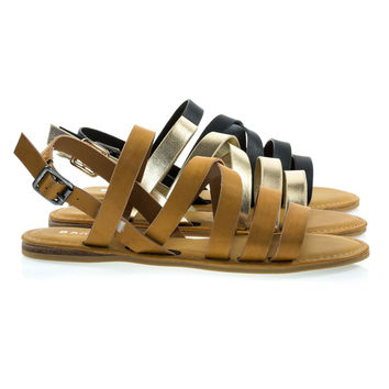 Bliss11s Tan by Bamboo, Open Toe Summer Flat Sandal w Gladiator Criss Crossing Straps