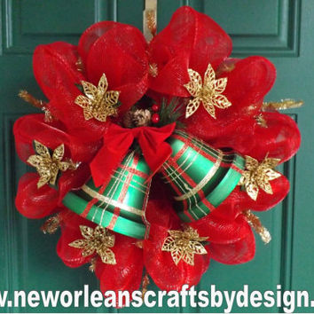 Christmas Red Deco Mesh Wreath with Green Plaid Bells and Gold Poinsettias