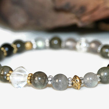 Labradorite Bracelet, Men's Gemstone Bracelet, Spiritual Beaded Jewelry, Mala Bracelet, Prayer Beads, Man Bracelet, Yoga Gifts, Gift for Him