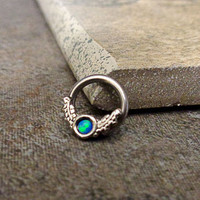 Opal Septum Ring, Cartilage Ring, Tragus Ring, Captive Bead Surgical Steel Piercing Jewelry