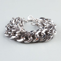 Full Tilt 3 Row Heavy Chain Bracelet Silver One Size For Women 24360614001