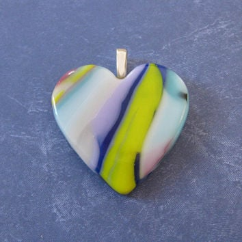 Colorful Heart Pendant, Large Heart, Mothers Day Jewelry, Hand Crafted Jewelry - Dreamweaver - 4627 -4