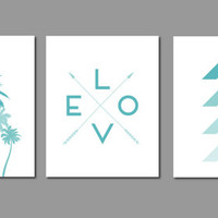 Turquoise Palm Tree, Palm Tree Wall Art, California Print, Chevron Print, Love Arrow Print, Arrow Art, Geometric Wall Art, Geometric Prints