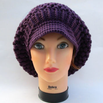Purple Newsboy Cap - Wool Hat With Brim - Women's Crochet Hat - Puff Stitch Beanie - Slouchy Visor Tam - Brimmed Beret