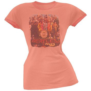 The Beatles - Sgt. Peppers Cover Coral Juniors T-Shirt