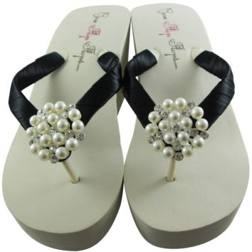 Black Satin Bridal Flip Flops with Pearl Embellishment- 3.5 inch heel on White or Ivory