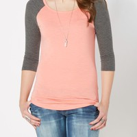 Mint Blocked Thermal Raglan Top | Long Sleeve | rue21