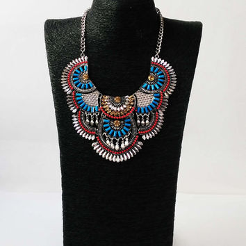 Tribal Statement Necklace, Multicolour Silver Boho Necklace, Turquoise Hippy Jewerly, Jewellery